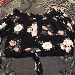 Heart & Hips Black and Floral Crop Top